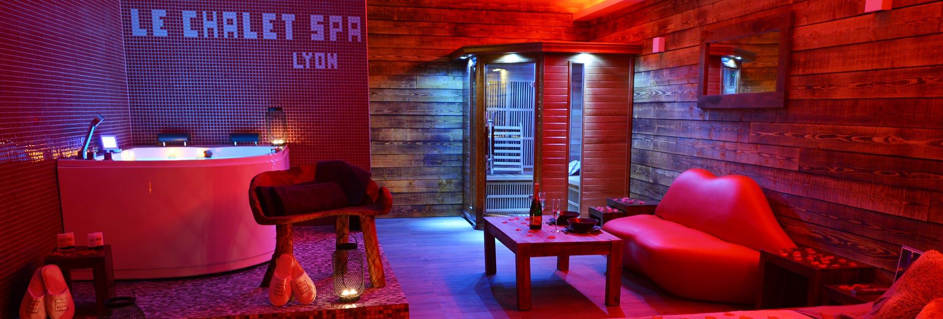 Chambre avec Jacuzzi et Spa privatif Romantique à Lyon - Nuit et Spa