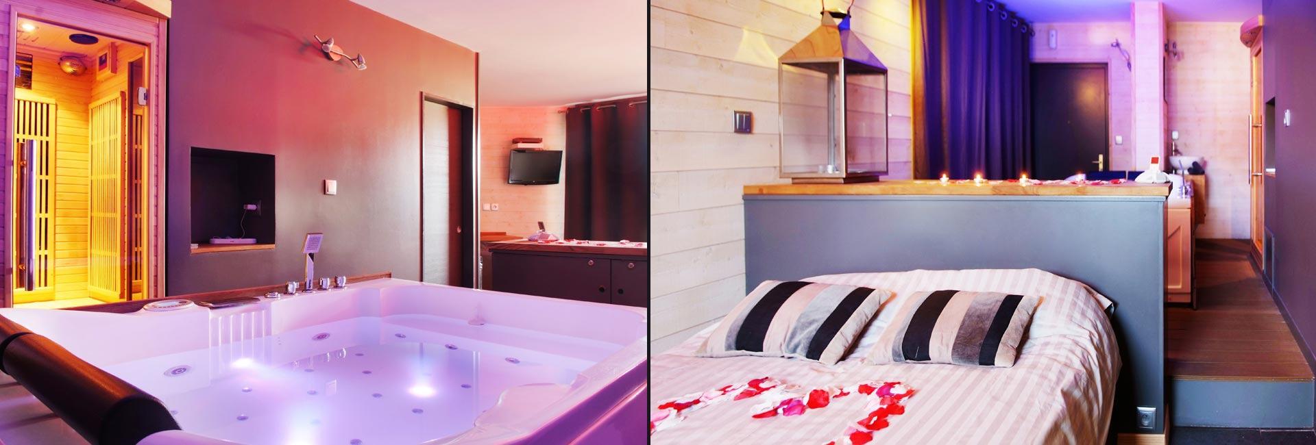 Chambre avec jacuzzi et sauna privatif le perceval spa romantique lyon 4 me nuit et spa - Location chambre avec spa privatif ...